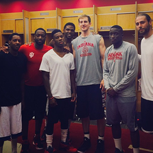 Mario Chalmers (from left), Dwyane Wade, Norris Cole, Udonis Haslem, Cody Zeller, Victor Oladipo and Josh McRoberts.