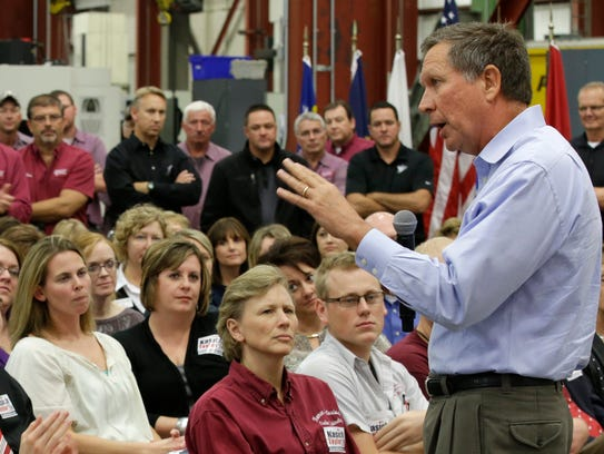 Ohio Gov. John Kasich speaks during a Oct. 13, 2014