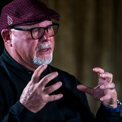 Former Cardinals head coach Bruce Arians speaks during