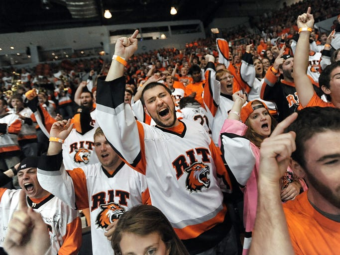 RIT fans cheer on their Tigers during a loss to Michigan Saturday.