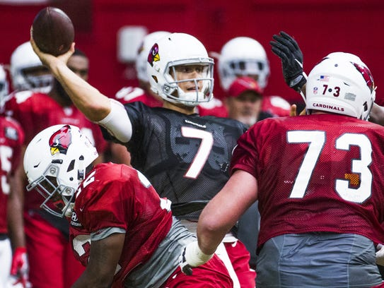 Cardinals quarterback Blaine Gabbert throws during