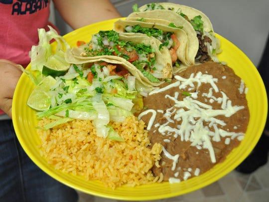A Caro's taco plate.