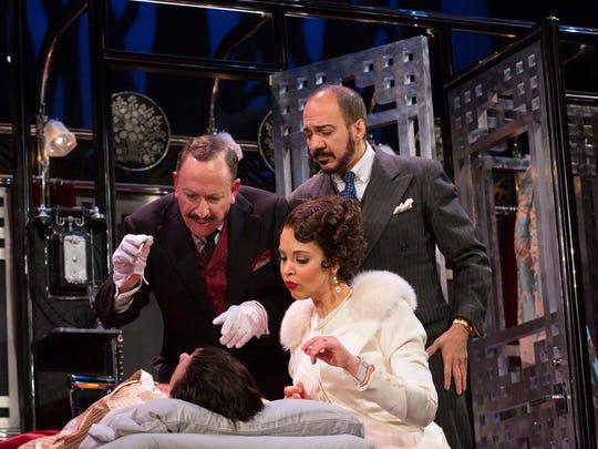 "Allan Corduner (clockwise from left), Evan Zes and Alexandra Silber in ""Murder on the Orient Express."""