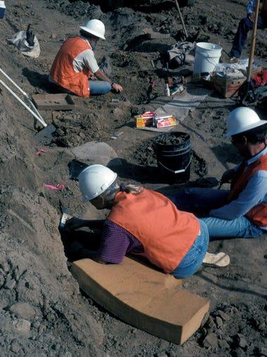 Caltrans archaeologists Karen Crafts, Chris White,