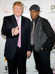 Donald Trump (left) and Arsenio Hall arrive at the 2012 Miss USA pageant on June 3, 2012 in Las Vegas, Nevada.