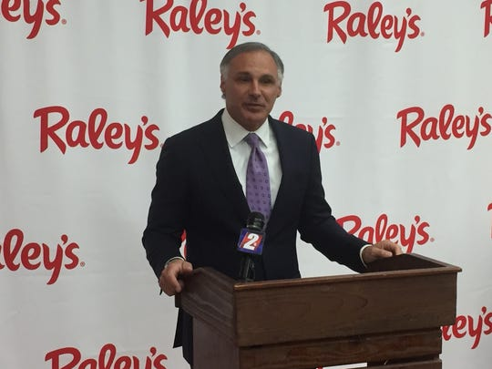 Keith Knopf, president of Raley's Supermarkets, speaks March 22, 2018, at a Reno press conference announcing Raley's purchase of six Scolari's stores in Northern Nevada. The company had also announced the sale on March 21.