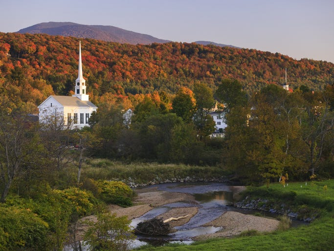 Likely the  most photographed church in Vermont,                                                          the Stowe                                                          Commu
