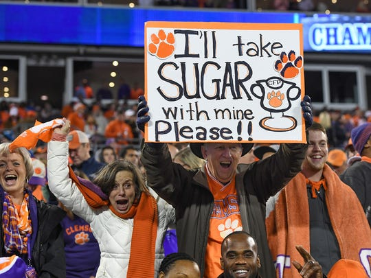 Clemson fans during the fourth quarter of the ACC championship game Dec. 2 against Miami at Bank of America Stadium in Charlotte, North Carolina.