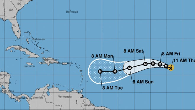 Hurricane Irma is forecast to continue moving to the west across the Atlantic over the next several days.