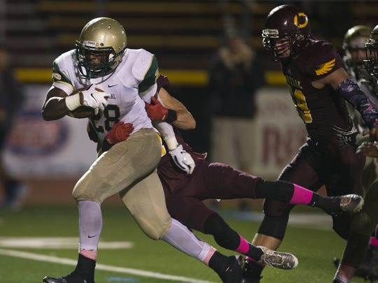 Brick Memorial senior running back Tony Thorpe, shown running against Central last year, will be trying to help his team to a win over the Golden Eagles Friday night.