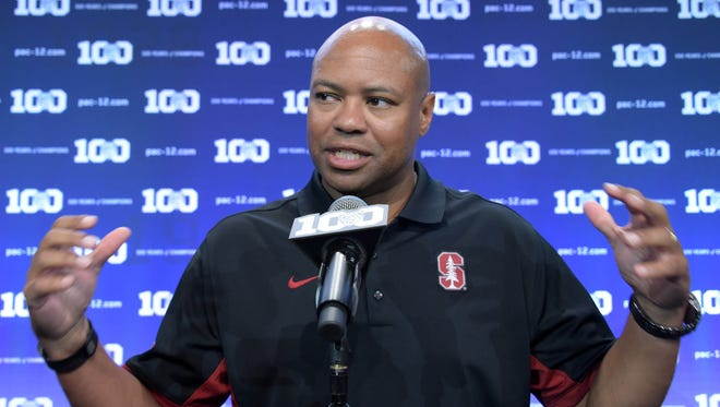 Stanford football coach David Shaw speaks at Pac-12 media day.