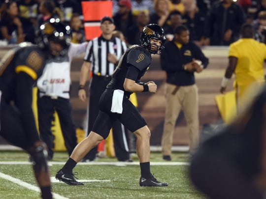 Southern Miss quarterback Nick Mullens lines up at wide receiver against Louisiana Tech on Nov. 25.