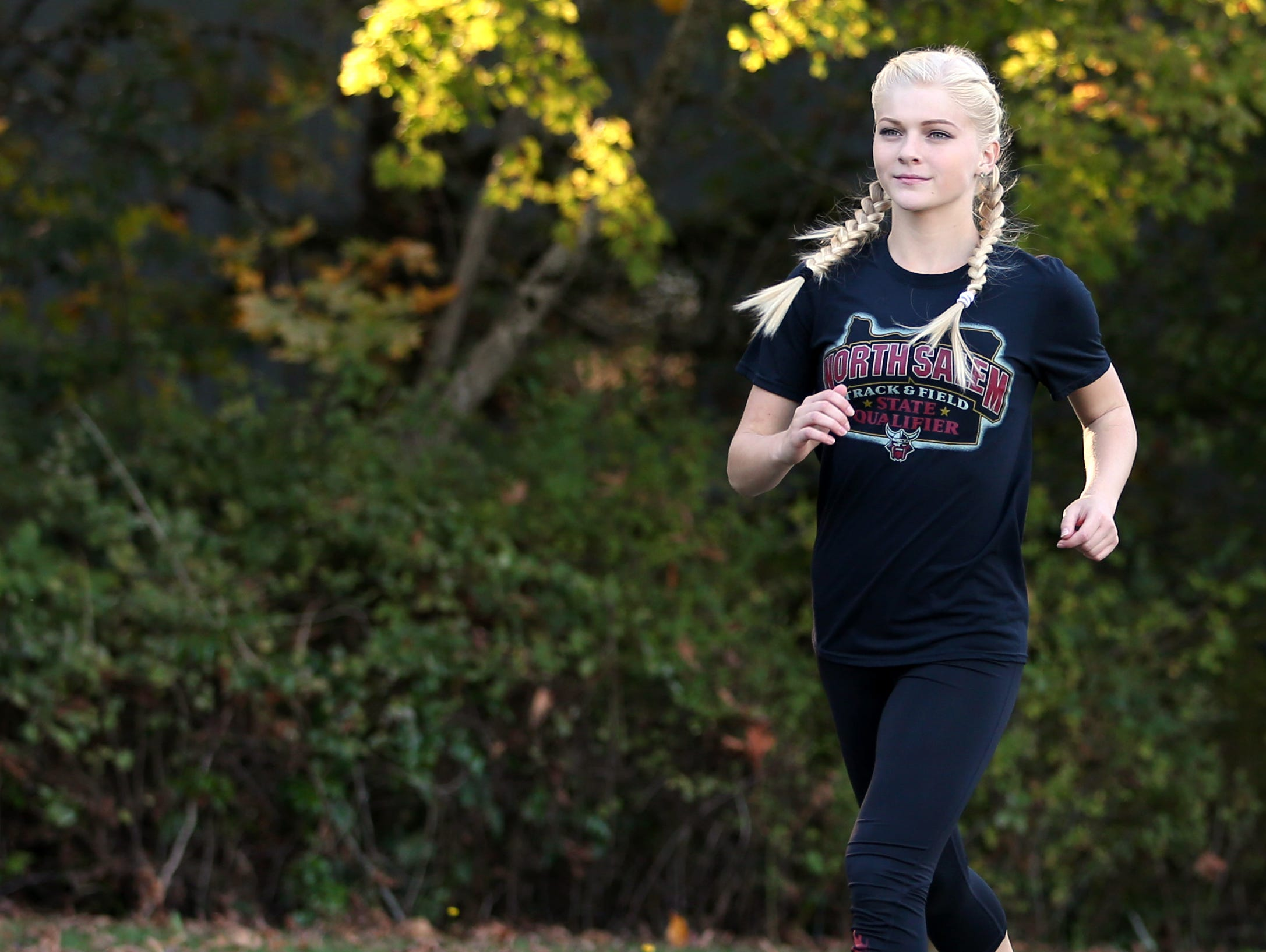 North Salem's Madison Willhoft is photographed after cross country practice on Tuesday, Oct. 11, 2016.