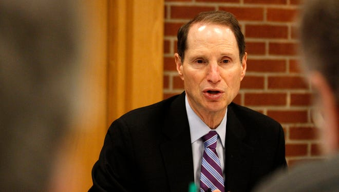 Oregon Sen. Ron Wyden talks with members of the Statesman Journal Editorial Board on Aug. 29 about timber policy and other issues.