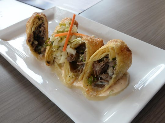 Philly steak and cheese egg roll.