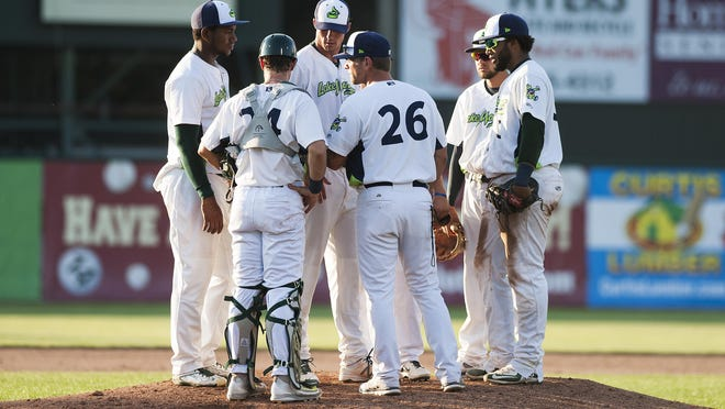 Vermont head coach Aaron Nieckula talks to the infield during the baseball game between the Connecticut Tigers and the Vermont Lake Monsters at Centennial Field on Sunday.