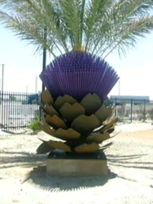 Construction on the artichoke statue has commenced at 52-300 Enterprise Way in Coachella.