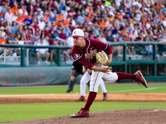 Florida State sophmore pitcher Cole Sands (26) allows 6 runs to score  during the Seminoles 12-10 loss to Clemson on Saturday April15 at Dick Howser Stadium in Tallahassee, FL.
