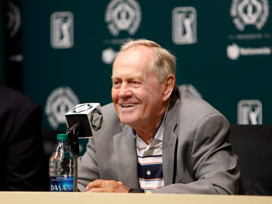 Jack Nicklaus answers questions during a news conference a few days before the start of the Memorial golf tournament Tuesday, May 30, 2017, in Dublin, Ohio. His grandson, Nick O'Leary, is tight end for the Buffalo Bills.