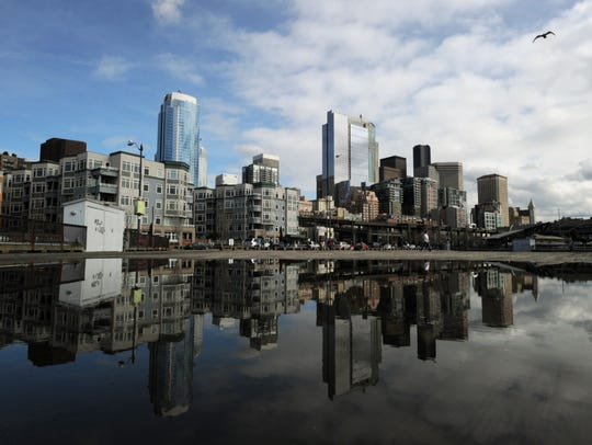 View of the skyline in the city of Seattle, Washington