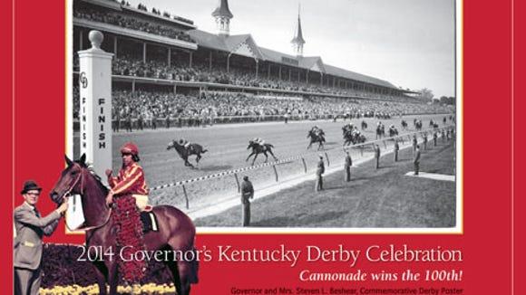 Gov. Steve Beshear's annual Kentucky Derby Celebration poster misspelled the name of trainer Woody Stephens.