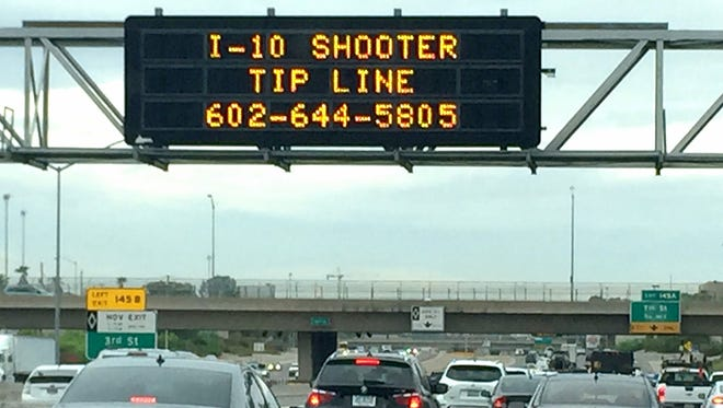 An interstate sign above Interstate 10 asked for anybody that had information about the shootings along I-10 to call the local tip line.
