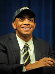 Emanuel Hall smiles during the National Signing Day