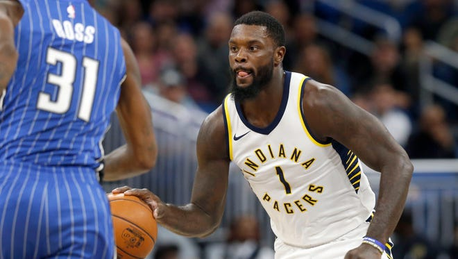 Nov 20, 2017; Orlando, FL, USA; Indiana Pacers guard Lance Stephenson (1) drives to the basket against the Orlando Magic during the second quarter at Amway Center. Mandatory Credit: Kim Klement-USA TODAY Sports