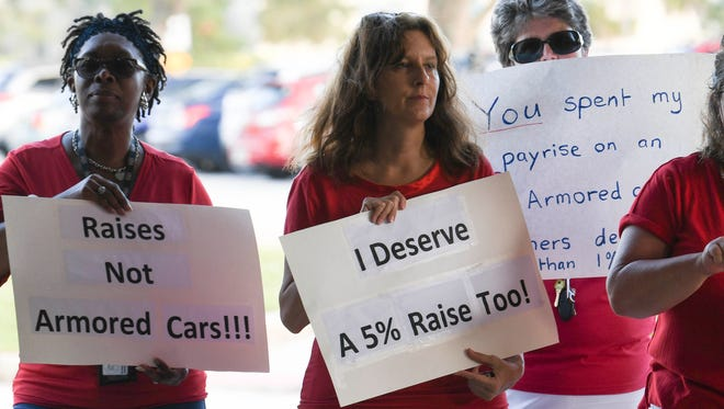 Teachers picket in front of Brevard school board headquarters in Viera in October 2017, protesting the board's offer of a 1 percent raise in pay.