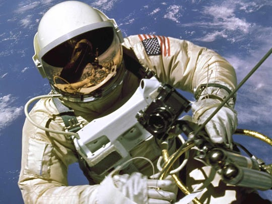 Edward White becomes the first American to step outside a spacecraft on June 3, 1965. For 23 minutes, White floated and maneuvered himself around the Gemini 4 spacecraft while logging 6,500 miles during his orbital stroll.