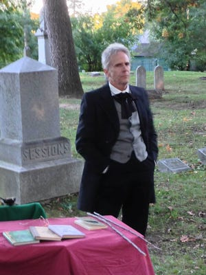 A character from last year's Northville Cemetery Walk. This year's walk begins at 2 p.m. Sunday at Rural Hill Cemetery.