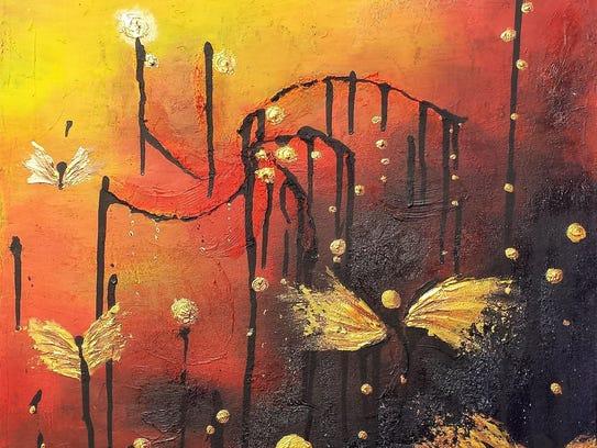 An exhibit of artist Allison Estry's colorful paintings