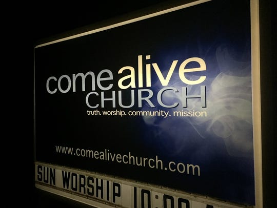 A sign identifies Come Alive Church on Old Marlton