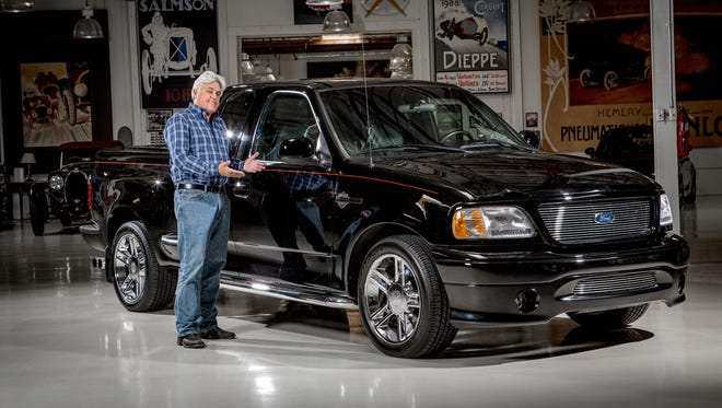 """Former """"Tonight Show"""" host Jay Leno is auctioning his Harley-Davidson edition Ford 150 truck for charity at Barrett-Jackson in Scottsdale."""