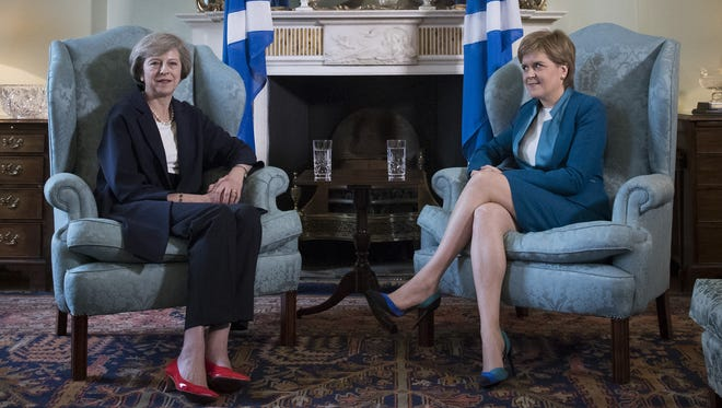 British Prime Minister Theresa May meets with First Minister Nicola Sturgeon at Bute House on July 15, 2016 in Edinburgh, Scotland.
