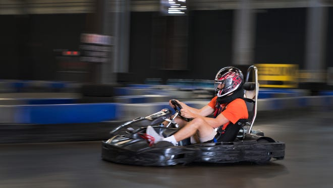 A racer moves through the LeMans Karting track. The activity can be a great way to forge team-building for companies, groups and more.