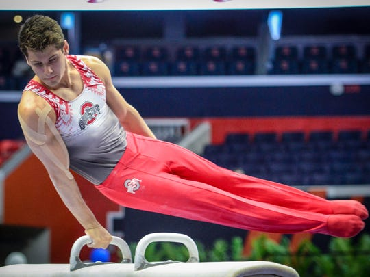 Ohio State's Alec Yoder, of Indianapolis, competes on pommel horse at the 2017 Big Ten Championships.