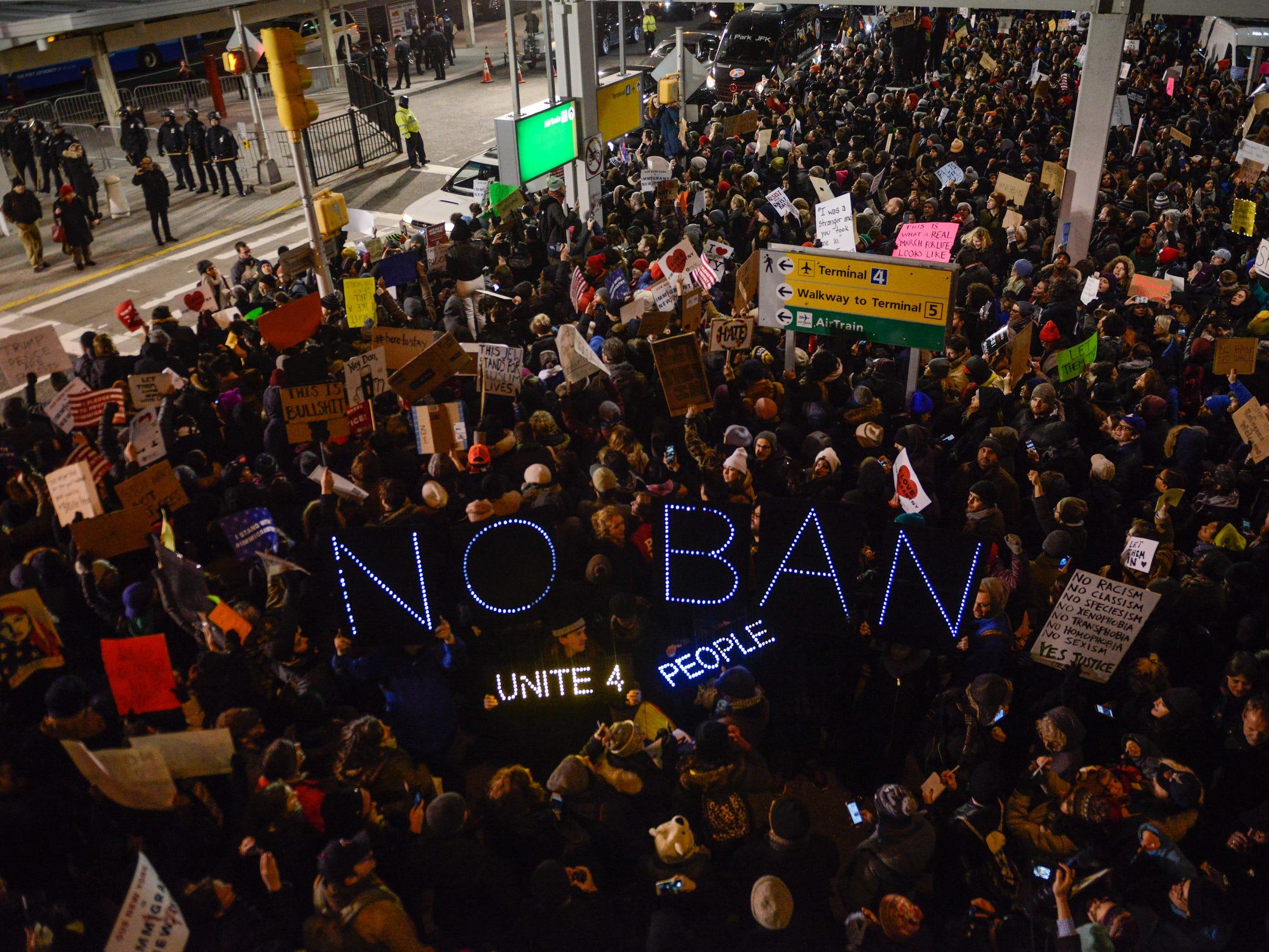 Demonstrators at John F. Kennedy International Airport