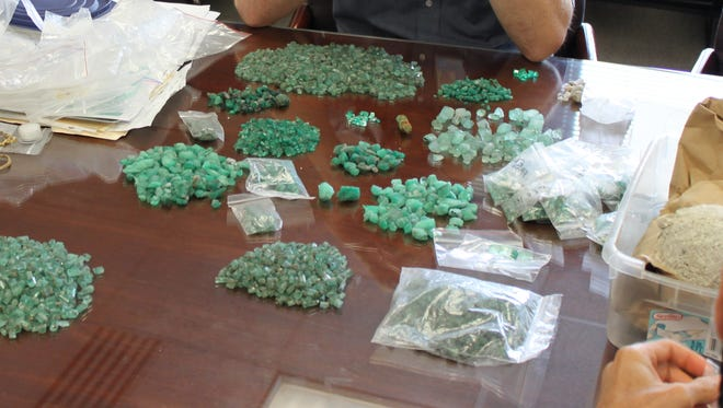 These emeralds were claimed to be from a pirate shipwreck off Florida. They were later determined to be fake. Investors are alleging violation of federal racketeering laws in a scheme to induce them to contribute money to retrieve the treasure.