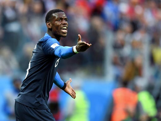 France midfielder Paul Pogba reacts during the first