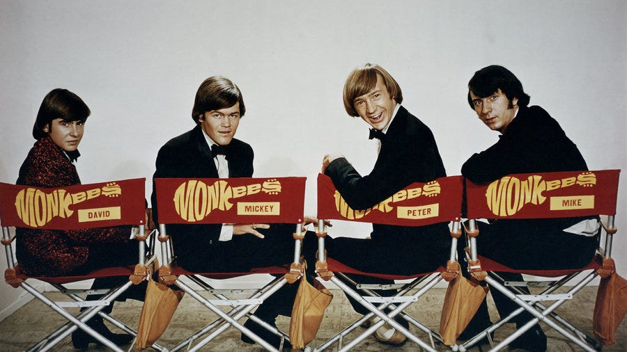 Micky Dolenz (second From Left) With Monkee Mates Davy