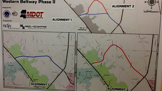 A feasibility study on the Western Beltway around Hattiesburg from Interstate 59 to U.S. 49 has two recommended paths.