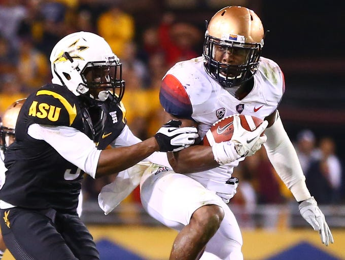 Arizona RB Ka'Deem Carey rushed 32 times for 157 yards and one touchdown in a loss to Arizona State.