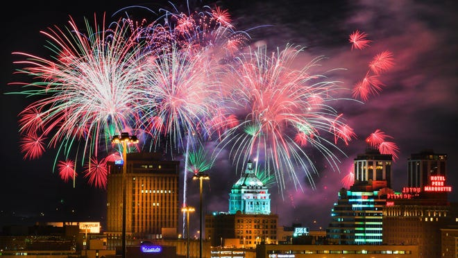 Fireworks explode over the skyline of Peoria during a past Red, White and Boom fireworks show.