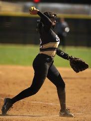 Abilene High pitcher Aubrianna Salazar (12) throws