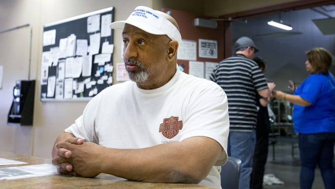 Air Force veteran Luis Hernandez receives assistance at Central Arizona Shelter Services in Phoenix on Feb. 18, 2016.