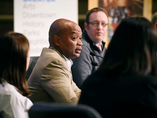 Wille Jett, St. Cloud superintendent of schools, answers a submitted  questions during a public forum explaining the school district's position on the $167-million Nov. 3 referendum Monday, Oct. 12 at the St. Cloud City Hall.