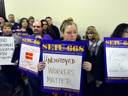 Furloughed Labor and Industry workers and allies rally