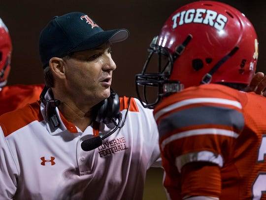 Luverne coach Scott Rials coaches against Brantley at Luverne High School in Luverne, Ala. on Friday September 29, 2017.