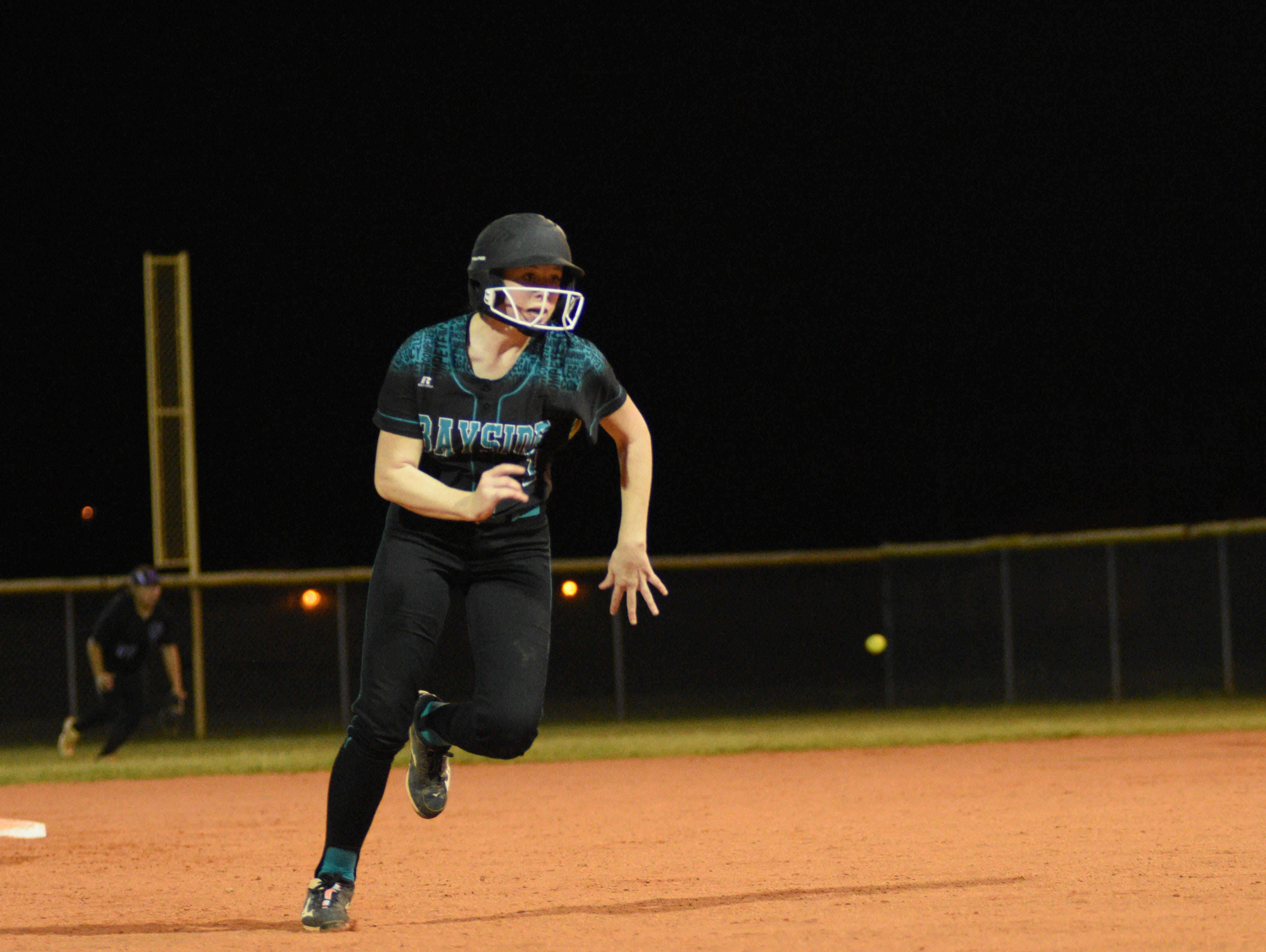 Bayside's Nikki Pennington advances to third base in a game this season.